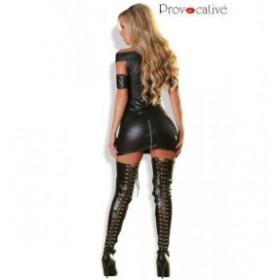 Robe sexy effet mouillé - PROVOCATIVE - noir