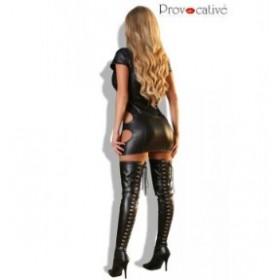 robe ouverte effet mouille provocative noir