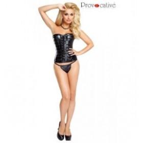 coral simili cuir - provocative - corset - noir