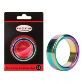 anneau penien - arc en ciel - Metal Ring Rainbow Steel 38 - MALESATION
