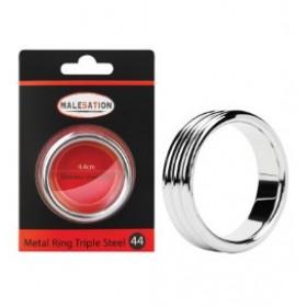 Triple anneau pénien large - argent - Metal Ring Triple Steel 44 - MALESATION