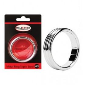 triple anneau penien métal sans nickel - argent - Metal Ring Triple Steel 48 - MALESATION